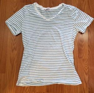 V neck blue and white striped shirt